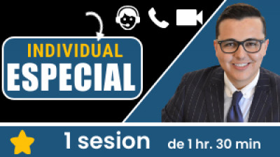 Individual ESPECIAL: incluye 1 sesión de 1hr. 30min. Tu eres libre de escoger el tema, la fecha y hora a conectarnos.