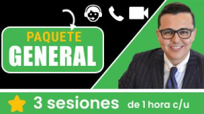 Paquete GENERAL: Incluye 3 sesiones de 1 hora c/u. Tu eres libre de escoger el tema, la fecha y hora a conectarnos.