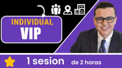Individual VIP: Incluye 1 sesión de 2 horas. Tu eres libre de escoger el tema, la fecha, hora, ciudad y domicilio.