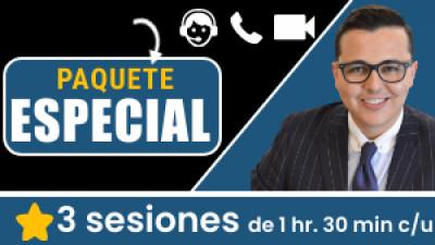 Paquete ONLINE: ESPECIAL Incluye 3 sesiones de 1hr. 30min c/u. Tu eres libre de escoger el tema, la fecha y hora a conectarnos.