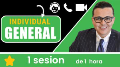 Individual GENERAL: Incluye 1 sesión de 1 hora. Tu eres libre de escoger el tema, la fecha y hora a conectarnos.