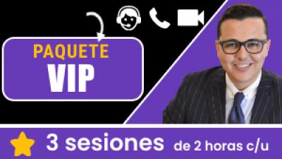 Paquete VIP ONLINE: Incluye 3 sesiones de 2 horas c/u. Tu eres libre de escoger el tema, la fecha y hora a conectarnos.